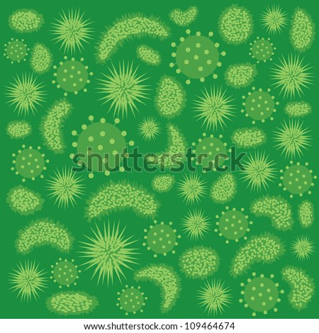 Abstract image of various green color viruses. - stock vector