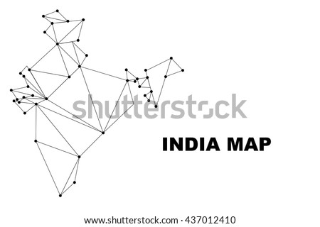 Abstract India map lines connection. Vector illustration - stock vector