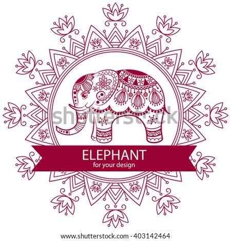 Abstract Indian elephant with mandala. Carved elephant. Stylized fantasy patterned elephant. Hand drawn vector illustration with traditional oriental floral elements.  - stock vector