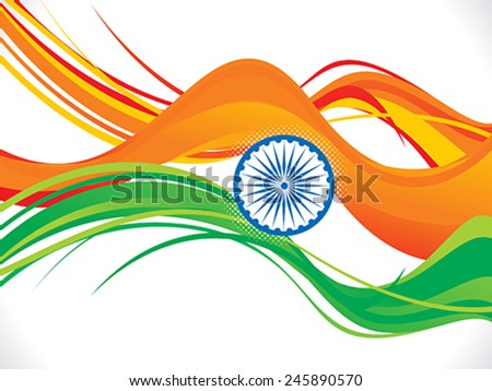 abstract indian republic day wave background vector illustration - stock vector