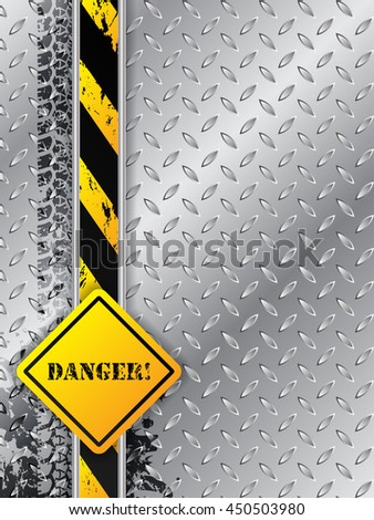 Abstract industrial background design with tire tracks metallic plate with danger text - stock vector