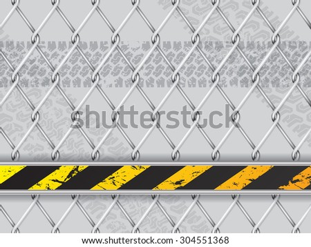 Abstract industrial background design with wired fence and tire track - stock vector