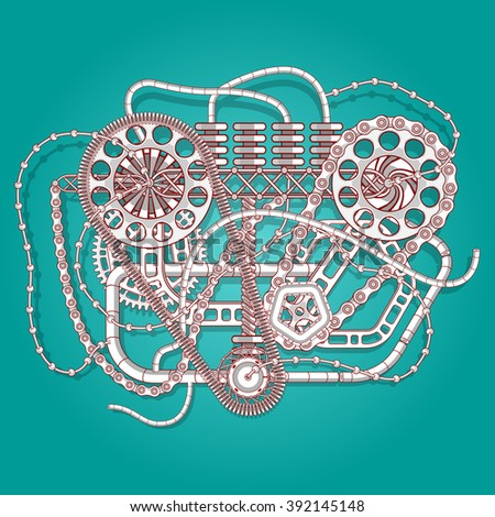 Abstract industrial illustration. Mechanical engineering vector background. Steam punk style. - stock vector