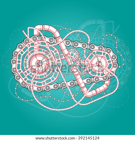 Abstract industrial illustration. mechanical engineering vector background. Steam punk style. Green and red colors. - stock vector