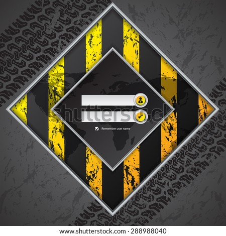 Abstract industrial login screen design with truck tire background - stock vector