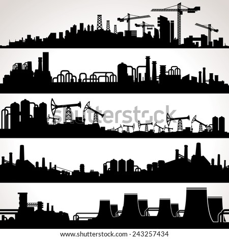 Abstract Industrial Skyline. Panoramic Seamless Silhouettes. Vector Set - stock vector