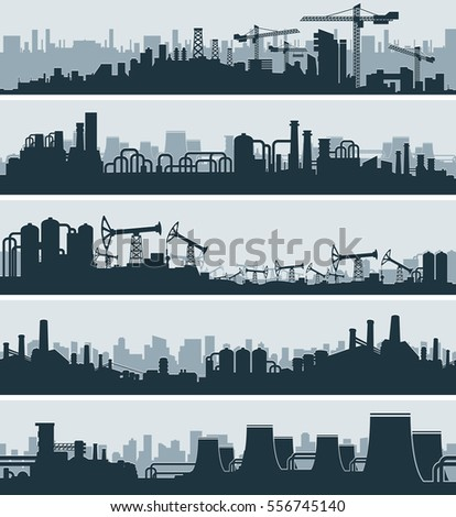 Abstract Industrial Skyline, Urban Simplicity Cityscape, Ordinary Power Plant. Panoramic Seamless Banners Vector Set
