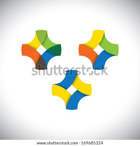abstract infinite loop icon made of colorful ribbons - vector. This simple graphic sign consists of red, blue, green, red and orange colors - stock vector