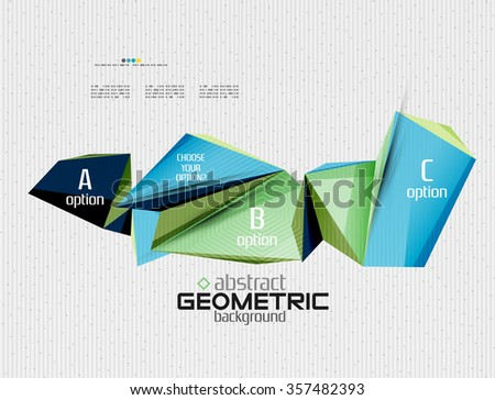Abstract info banner with options, geometric paper style. Vector illustration