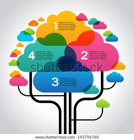 Abstract info-graphics background with text space. Many colored clouds in the form tree. File stored in version AI10 EPS. This image contains transparency. - stock vector