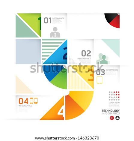 Abstract infographic Design Minimal circle shape style technology template / can be used for infographics / numbered banners / horizontal cutout lines / graphic or website layout vector - stock vector