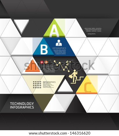 Abstract infographic Design Minimal Triangle shape style technology template / can be used for infographics / numbered banners / horizontal cutout lines / graphic or website layout vector - stock vector