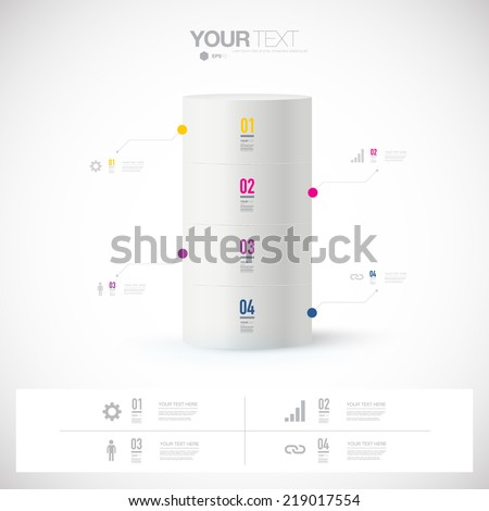 Abstract infographic design with minimal background can be used for workflow layout, diagram, chart, number options, presentation, web design. Eps 10 stock vector illustration  - stock vector