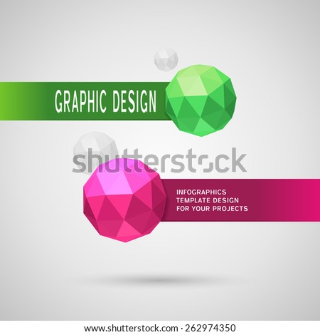 Abstract infographic design with two color spherical elements on grey background - stock vector