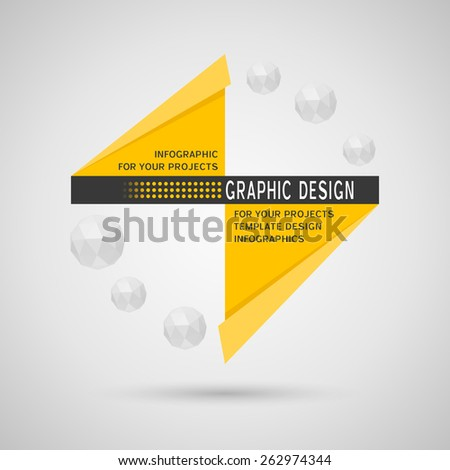 Abstract infographic design with yellow geometric elements on gray background - stock vector