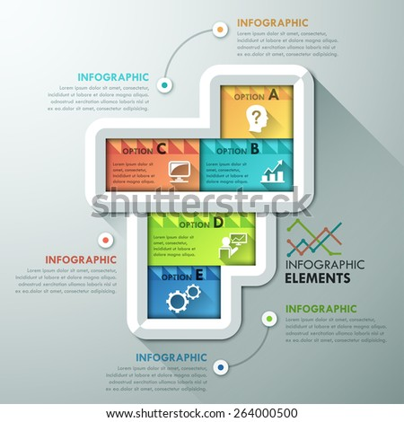 Abstract infographic options template with colorful rectangles for 5 steps. Vector. Can be used for web design and  workflow layout - stock vector