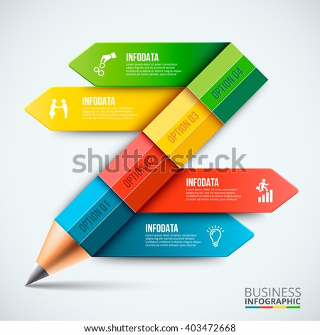 Abstract infographic pencil template. Can be used for education infographic, banner, diagram, step up options. - stock vector