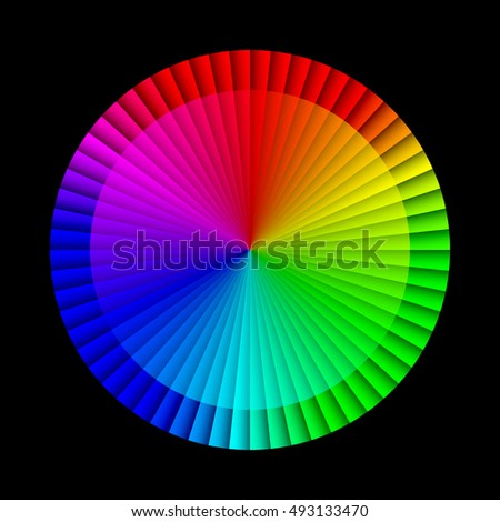 Abstract infographic rainbow sectors 3d circle wheel shape 60 options chart on black background. RGB EPS 10 vector illustration