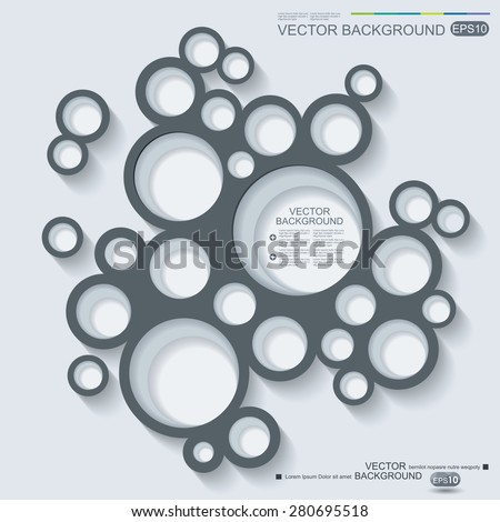 Abstract infographics design with circles and shadow on grey background.  - stock vector