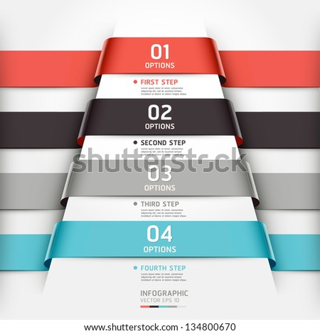 Abstract infographics template ribbon style. Vector illustration. can be used for workflow layout, diagram, number options, step up options, banner, web design - stock vector