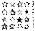 abstract ink grunge vector stars set - stock vector