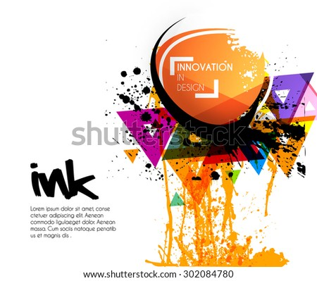Abstract innovative theme disco background with ink,circles, triangles and splash, Editable Illustration - stock vector