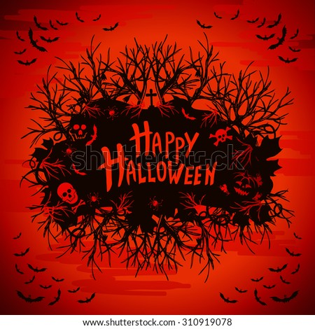 abstract inscription Happy Halloween on a white background - stock vector