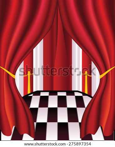 Abstract interior with red curtains, chess floor and columns. - stock vector