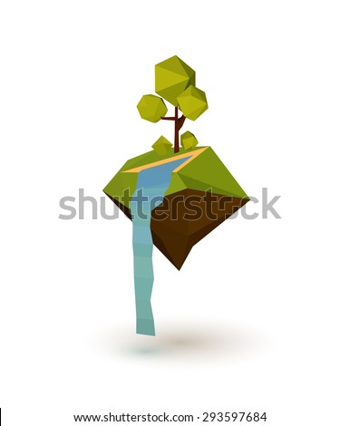 Abstract island with trees and a waterfall in the low poly style. Vector illustration - stock vector