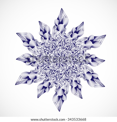 abstract isolate vector snowflake or flower - stock vector