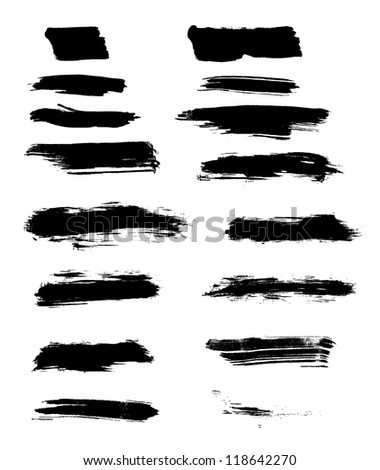 abstract isolated black brush strokes - stock vector