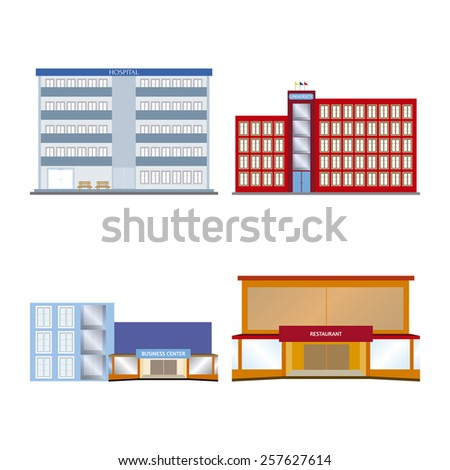 abstract isolated buildings on a white background