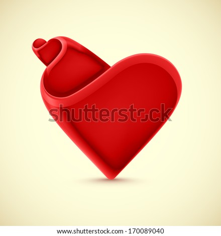 Abstract isolated heart, eps 10 - stock vector
