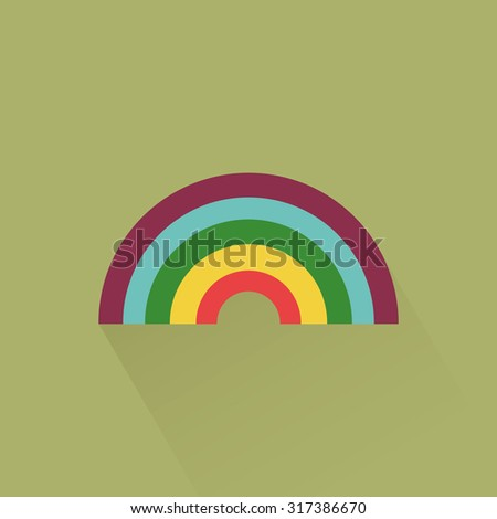 Abstract isolated rainbow on a green background