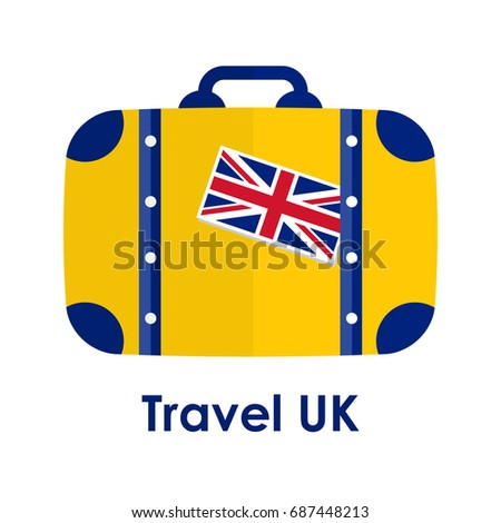 "Abstract isolated vector illustration. Blue and yellow suitcase with United Kingdom flag on it and words ""Travel UK"" under it. Traveling and patriotism theme."