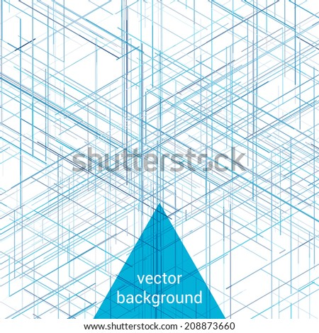 Abstract isometric computer generated 3D blueprint visualization lines background. Vector illustration for break through in technology. Abstract background. - stock vector