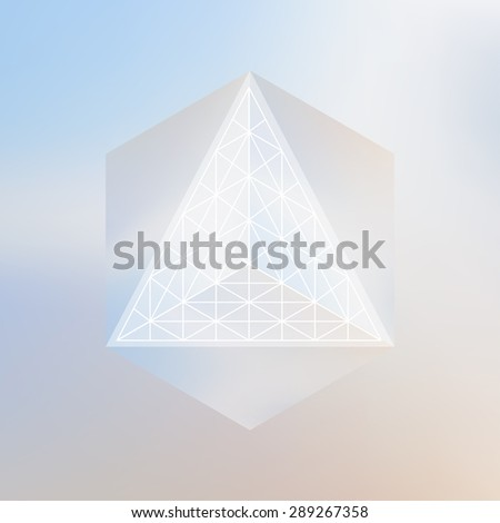Abstract isometric cube and prism with the reflection of the environment and lowpoly triangles on blurred background. Vector futuristic backdrop in pastel shades. - stock vector