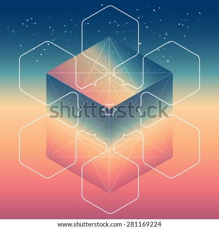 Abstract isometric cube with the reflection of the space and low poly triangles on blurred background. Vector Minimalistic multifunctional backdrop. - stock vector