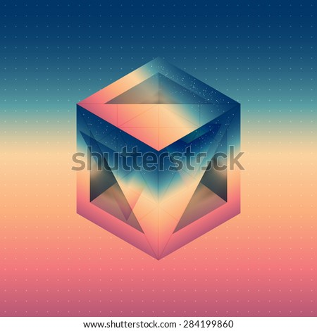 Abstract isometric cube with the reflection of the space and lowpoly triangles on blurred background. Vector futuristic multifunctional backdrop. - stock vector