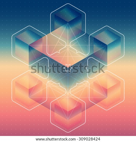 Abstract isometric cubes with the reflection of the space and low poly triangles on blurred background. Vector futuristic backdrop. Mystical flower. - stock vector