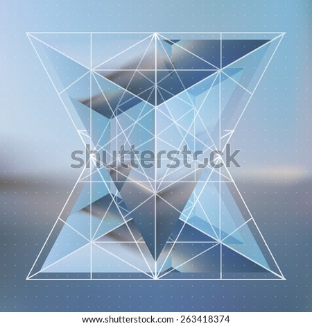 Abstract isometric prism with the reflection of the environment and low poly triangles on blurred background. Vector futuristic blurry backdrop. - stock vector
