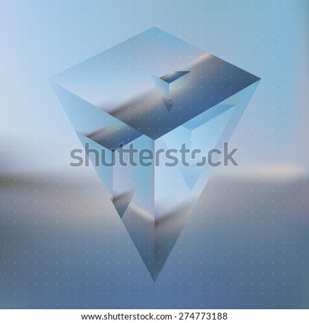 Abstract isometric prism with the reflection of the environment on blurred background. Minimalistic blurry backdrop. Futuristic object levitating in the air - stock vector