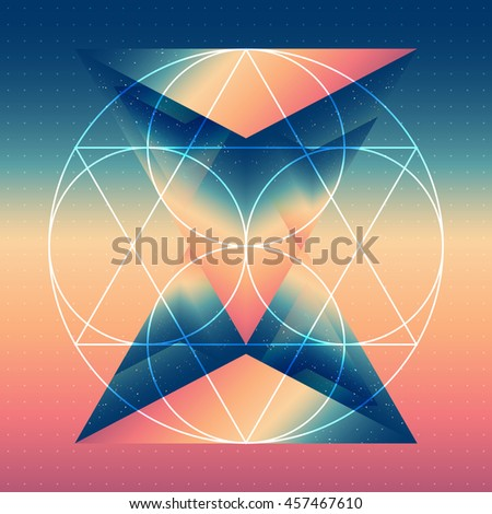 Abstract isometric prism with the reflection of the space and geometric figures on blurred background. Vector futuristic multifunctional backdrop. - stock vector