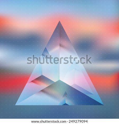 Abstract isometric pyramid with the reflection of the environment on blurred background. Minimalistic blurry backdrop. Futuristic object levitating in sunset light. Vector Double exposure. - stock vector