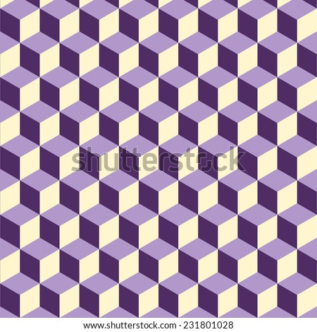 Abstract isometric violet cube pattern background, stock vector - stock vector