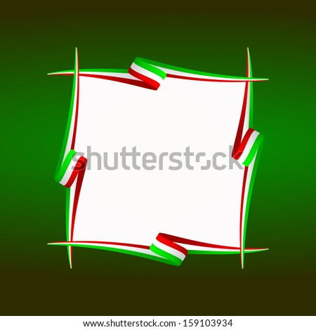 Abstract Italian, Mexican, Hungarian and Iranian frame flag  - stock vector
