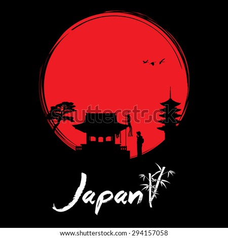 Abstract Japanese background, geisha praying at shrine - stock vector