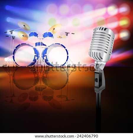 abstract jazz background with drum kit and retro microphone on music stage - stock vector