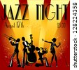 Abstract jazz band, Jazz music party invitation design, Vector illustration with sample text - stock