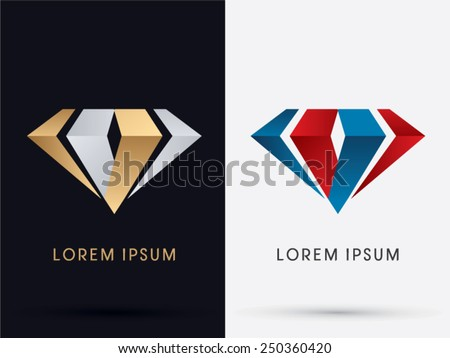 Abstract Jewelry, diamond, gemstone, designed using gold and silver , red and blue colors, logo, symbol, icon, graphic, vector. - stock vector